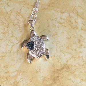 .925 Silver & Crystal sea turtle Sapphire heart